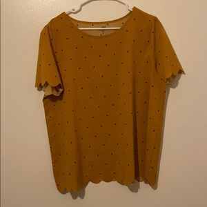 Mustard Yellow polka dotted blouse
